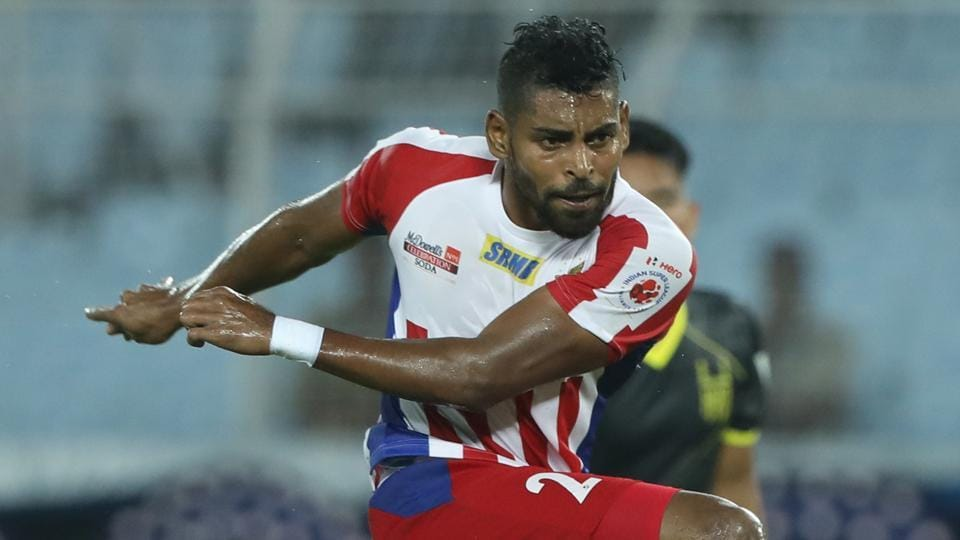 Roy Krishna kick for goal during match 6 of the Indian Super League ( ISL ) between ATK and Hyderabad FC.