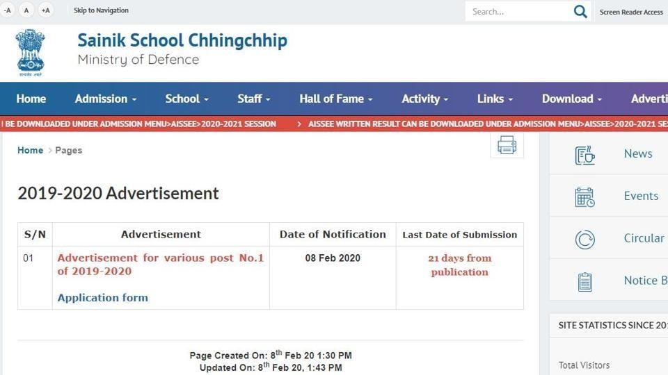 Sainik School Recruitment 2020. (Screengrab)