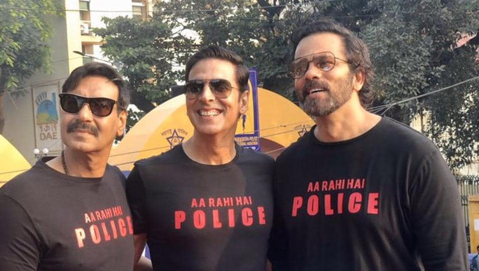 Ajay Devgn, Akshay Kumar and Rohit Shetty during the Maharashtra Police International Marathon in Mumbai.