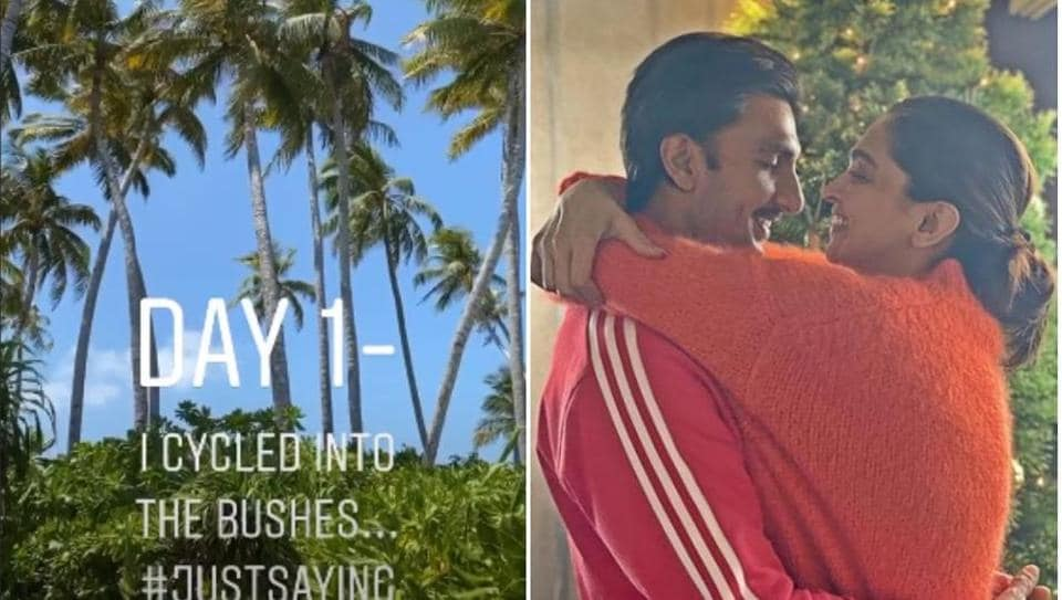 Deepika Padukone shares new picture from her holiday, says she 'cycled into the bushes'. See pic