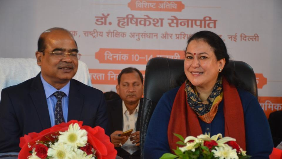 Director NCERT Hrushikesh Senapaty and principal secretary, secondary education, Aradhana Shukla during inauguration of secondary school teachers training session in Lucknow on Monday.