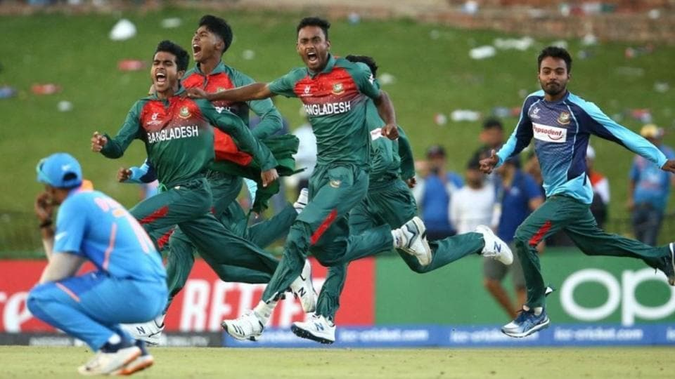 Bangladesh U19 players run onto the field after beating India in the U19 World Cup final