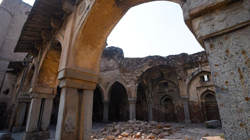 "Rubble lies amid the ruins of the  Begampur Mosque. Speaking about the fate of the mosque in recent years, Jalil said ""After Independence, several migrants had made the mosque their home, as was happening in many other monuments in Delhi."" (Amal KS / HT Photo)"