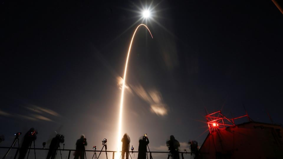 "The rocket was visible for four full minutes after lift-off, piercing the night sky. Europe's project scientist Daniel Mueller was thrilled, calling it ""picture perfect."" His NASA counterpart, scientist Holly Gilbert, exclaimed, ""One word: Wow."" NASA declared success 1 1/2 hours later, once the Solar Orbiter's solar wings were unfurled. (Joe Skipper  / REUTERS)"