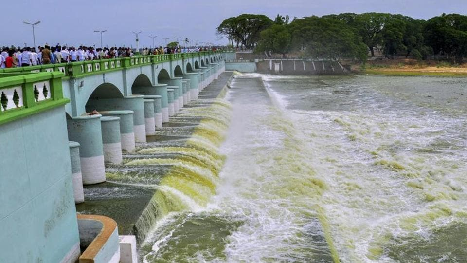 Cauvery river flowing in to Kallanai Dam in Tiruchirapalli district of Tamil Nadu.