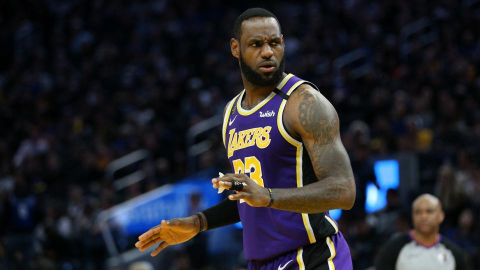 Feb 8, 2020; San Francisco, California, USA; Los Angeles Lakers forward LeBron James (23) reacts after the Lakers were called for a foul against the Golden State Warriors in the fourth quarter at the Chase Center. Mandatory Credit: Cary Edmondson-USA TODAY Sports