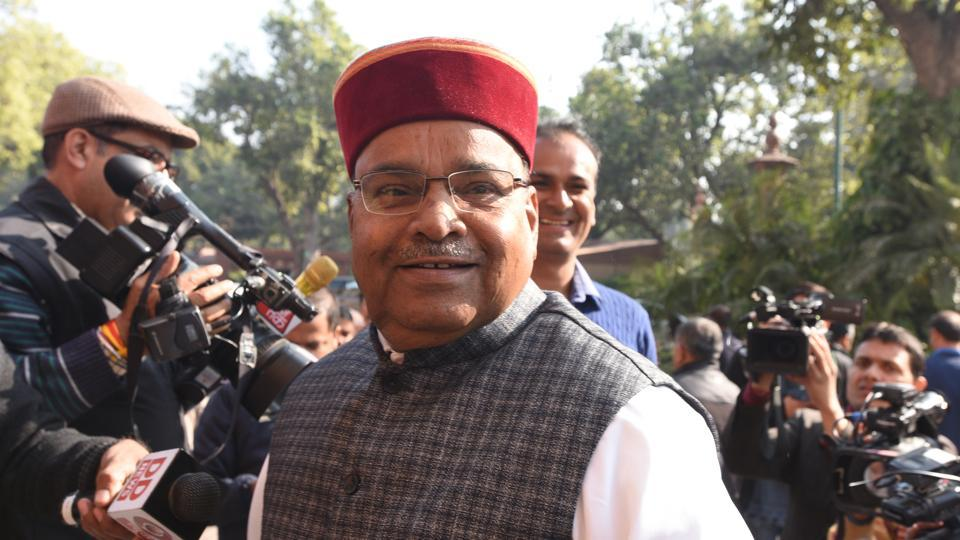Union Minister of social justice and empowerment Thawar Chand Gehlot arrives to attend the winter session in Parliament in New Delhi.
