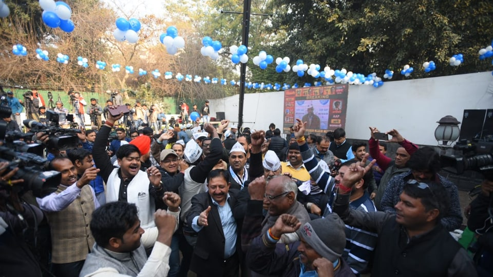 The headquarters were decorated with blue and white balloons and big cut-outs of Kejriwal were placed in different parts of the party office.
