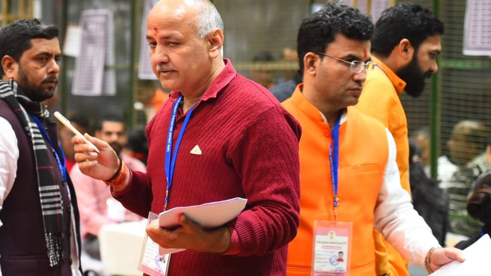 Deputy chief minister Manish Sisodia at a counting centre. (Raj K Raj/HT Photo)