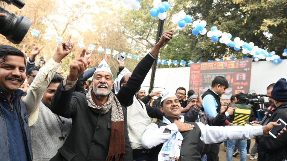 Celebrations at AAP office in New Delhi on Tuesday.