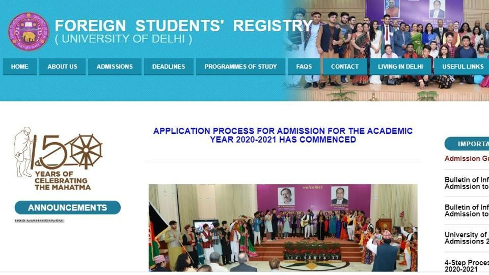 The University of Delhi has begun online application process for foreign nationals seeking admission to the undergraduate/postgraduate courses for the academic year 2020-2021.
