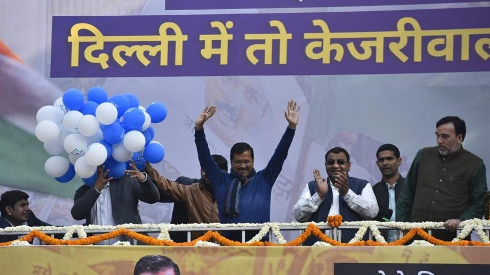 AAP chief Arvind Kejriwal addresses supporters at party headquarters onTuesday.