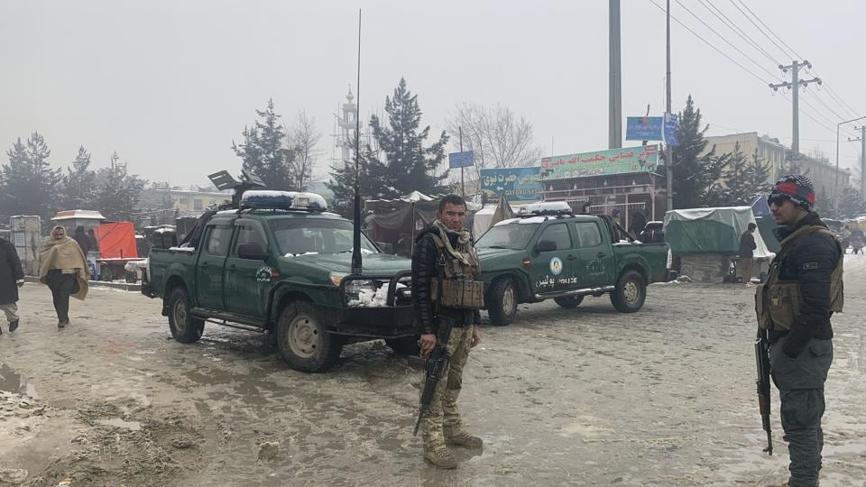 Afghan police arrive at the site of an explosion near the military academy in Kabul, Afghanistan, Tuesday, Feb. 11, 2020. An explosion occurred early Tuesday near the military academy in a southern neighborhood of the Afghan capital, a government spokesman said.