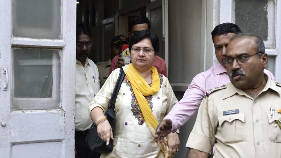 Urvashi Chudawala'smother steps out from Azad Maidan Police station after an FIR citing sedition was filed at the Azad Maidan police station in Mumbai.