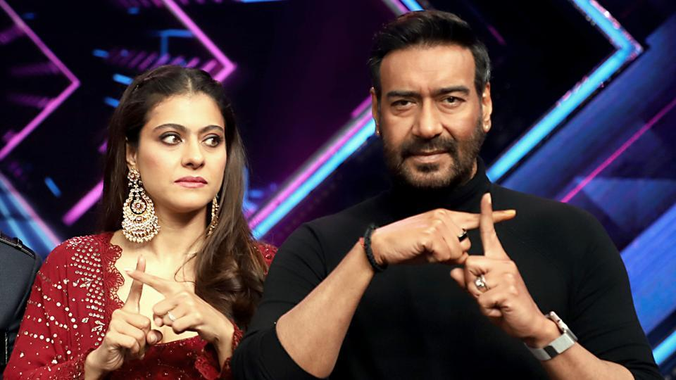 Bollywood actors Ajay Devgn and wife Kajol spotted promoting their film Tanahji.