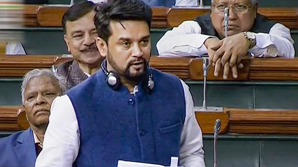Minister of State for Finance Anurag Thakur speaks in the Lok Sabha during the Budget Session of Parliament, in New Delhi.