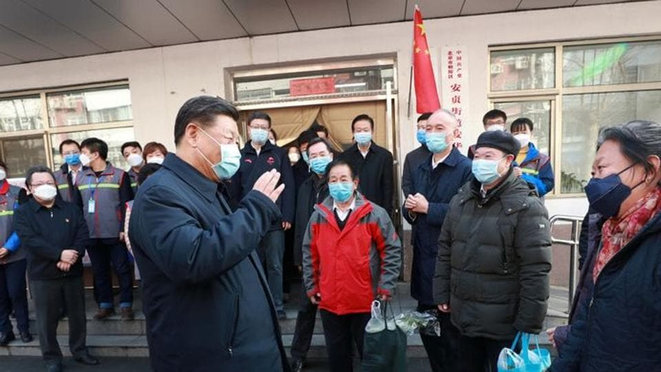 Chinese President Xi Jinping inspects the novel coronavirus prevention and control work at Anhuali Community in Beijing, China.