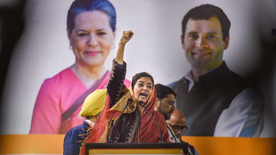 Congress candidate from Chandni Chowk seat Alka Lamba during an election campaign rally ahead of the Assembly polls.
