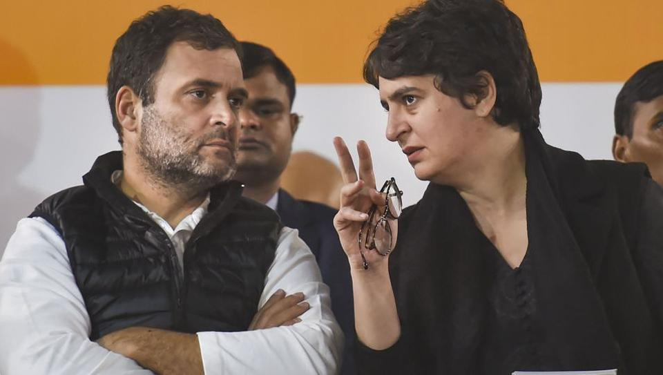 Congress Leaders Rahul Gandhi and Priyanka Gandhi during an election campaign rally ahead of the State Assembly polls, at Hauz Qazi Chowk in New Delhi, Wednesday, Feb. 5, 2020.