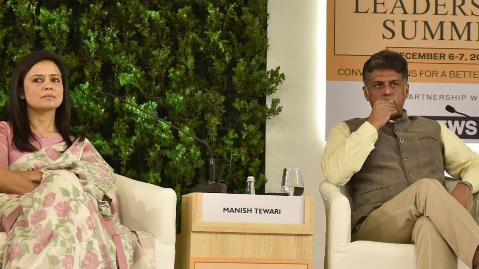 Mahua Moitra, Member of Parliament (TMC),  and Manish Tewari, Member of Parliament (Congress) during the Hindustan Times Leadership Summit at Taj Palace, in New Delhi.