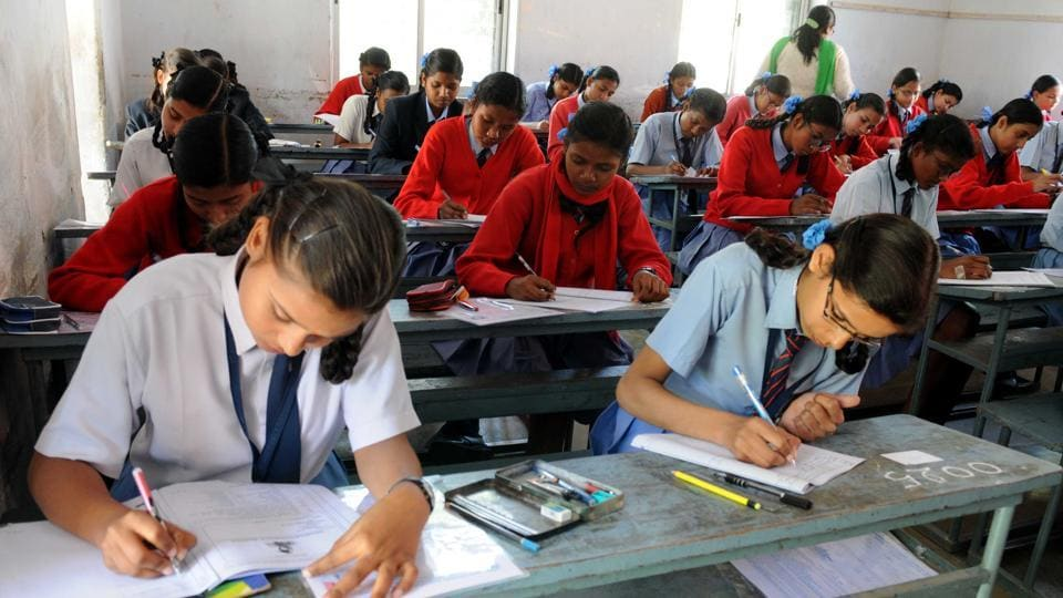 Ranchi, India - Feb. 20, 2019:: (FILE PHOTO) Students appearing in the matriculation examination conducted by Jharkhand Academic Council at St Margaret school centre in Ranchi