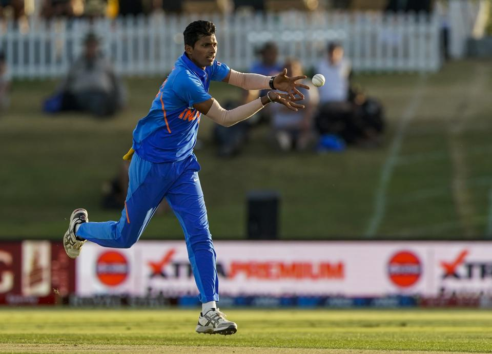 India's Navdeep Saini in action during the One Day cricket international between India and New Zealand at Bay Oval, Tauranga, New Zealand, Tuesday, Feb. 11, 2020. (John Cowpland/Photosport via AP) (AP)