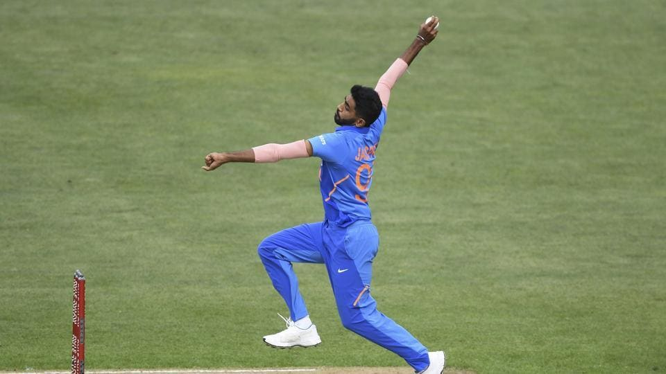 India's Jasprit Bumrah bowls during a One Day International cricket between India and New Zealand at Eden Park in Auckland, New Zealand, Saturday, Feb 8, 2020. (Andrew Cornaga/Photosport via AP)