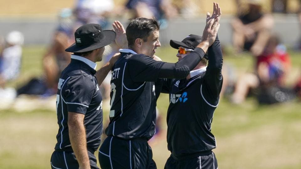 New Zealand's Hamish Bennet celebrates the wicket of India's Virat Kholi during the One Day cricket international between India and New Zealand at Bay Oval in Tauranga, New Zealand, Tuesday, Feb. 11, 2020. (John Cowpland/Photosport via AP) (AP)