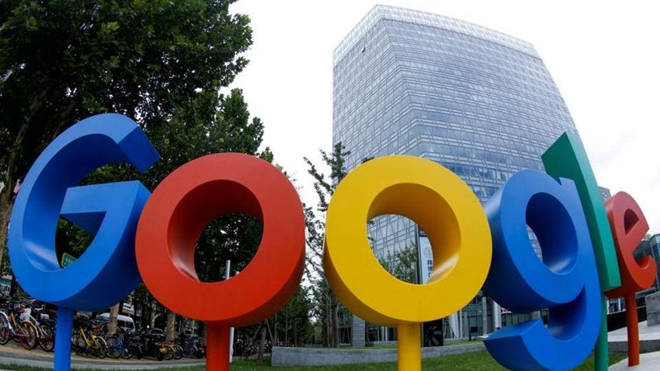 The brand logo of Alphabet Inc's Google is seen outside its office in Beijing, China.