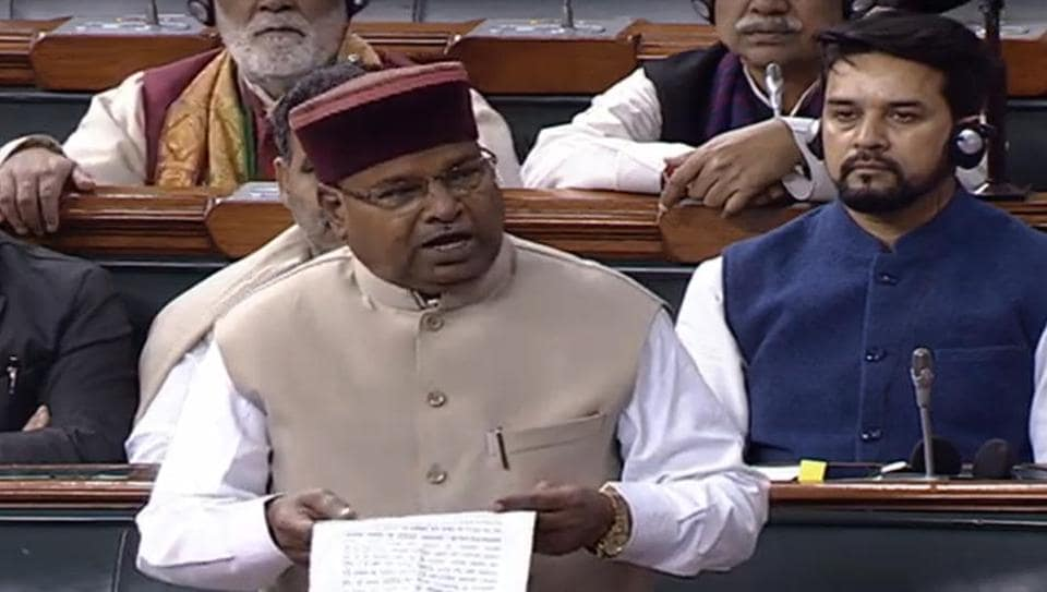 Union Minister of Social Justice & Empowerment Thawarchand Gehlot speaks in Lok Sabha during the Budget Session of Parliament in New Delhi on Monday.
