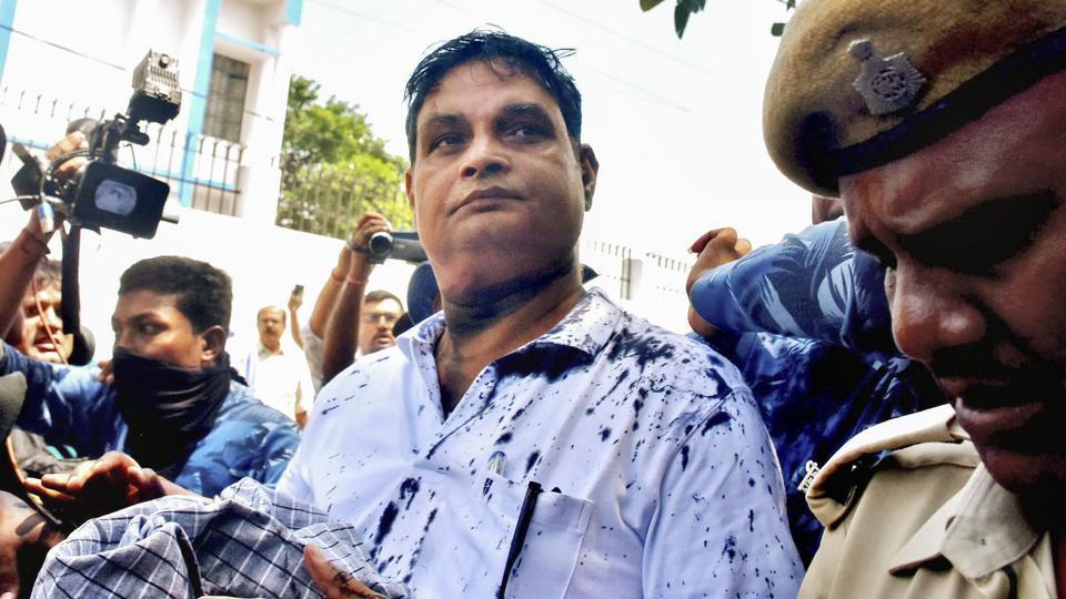 Main accused in the Muzaffarpur shelter home case Brajesh Thakur is taken to a special POCSO court, in Muzaffarpur.