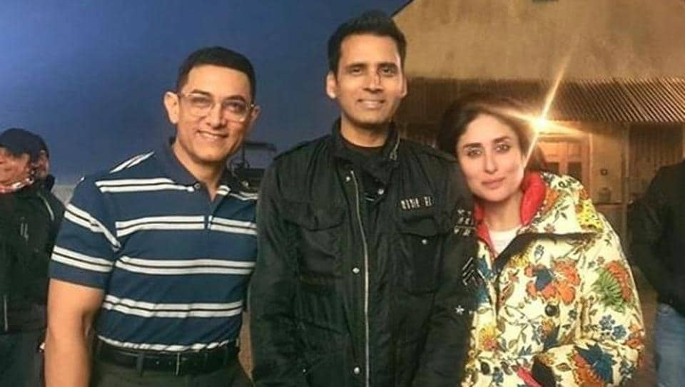 Aamir Khan and Kareena Kapoor with Pompy Hans at Laal Singh Chaddha's sets onTuesday.