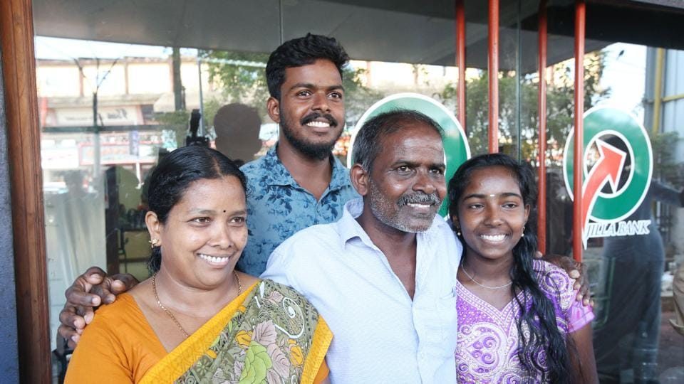 PRajan with his family after winning the Rs 12 crore lottery.