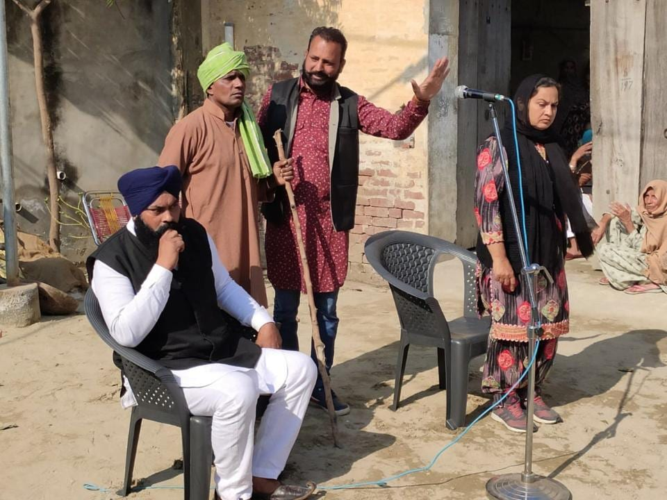 Artistes performing a nukkad natak urging people to join their anti-CAA protest on February 16 in Malerkotla.