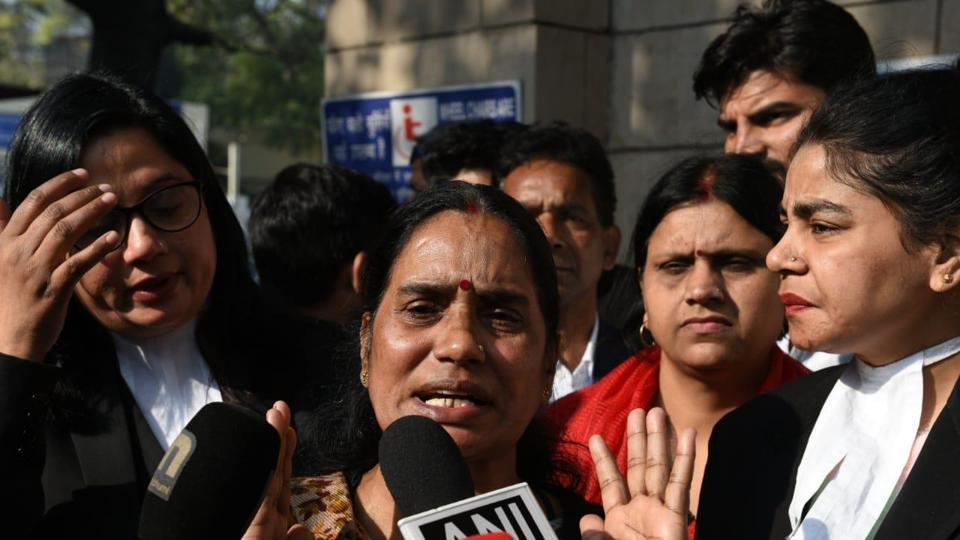 Asha Devi after the hearing of Nirbhaya case at Patiala House court in New Delhi on Wednesday.