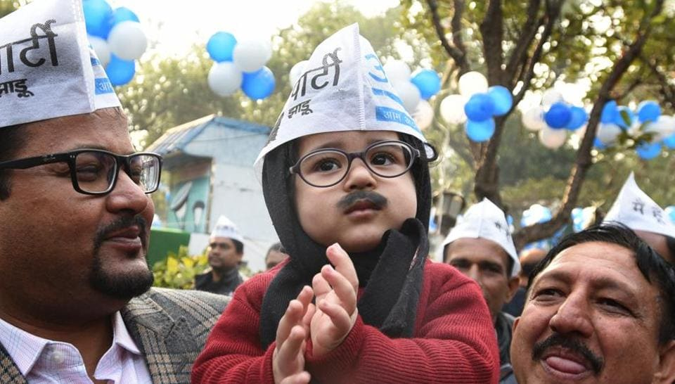 A child dressed up as AAP convener and Delhi Chief Minister Arvind Kejriwal is seen at AAP headquarter after party's victory in Delhi Assembly election, in New Delhi, India, on Tuesday, February 11, 2020.