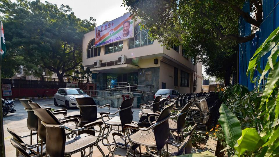 A deserted view of the Delhi Congress office after AAP won the Delhi Assembly elections, in New Delhi on Tuesday.