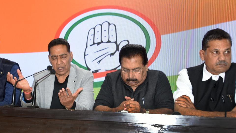 Congress leaders Subhash Chopra, PCCHacko and Kirti Azad address a press conference after the party failed to win a single seat in the Delhi Assembly election.