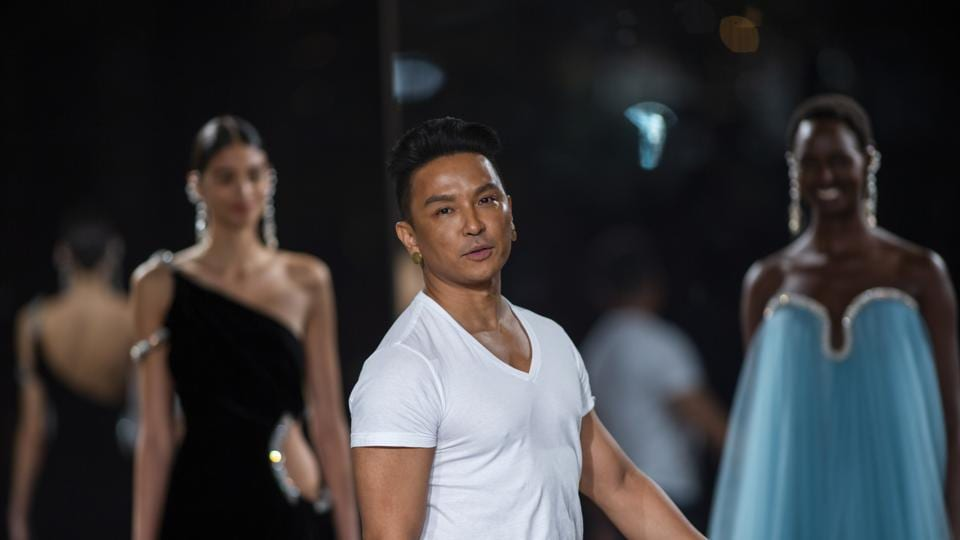 Designer Prabal Gurung makes an appearance at the end of his FW20 collection event during Fashion Week.
