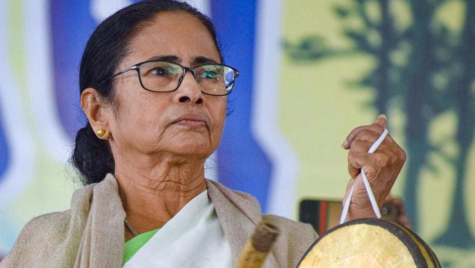 West Bengal Chief Minister Mamata Banerjee at a rally in Bankura district of West Bengal.