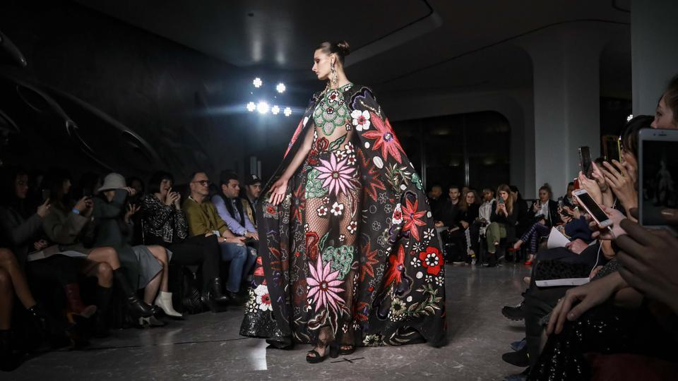 A model displays fashion from Naeem Khan during New York's Fashion Week.  (AP)