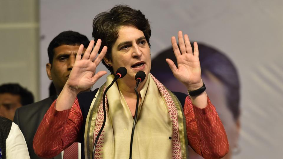 General Secretary of the All India Congress Committee Priyanka Gandhi Vadra addresses a public meeting ahead of the Delhi Assembly election.