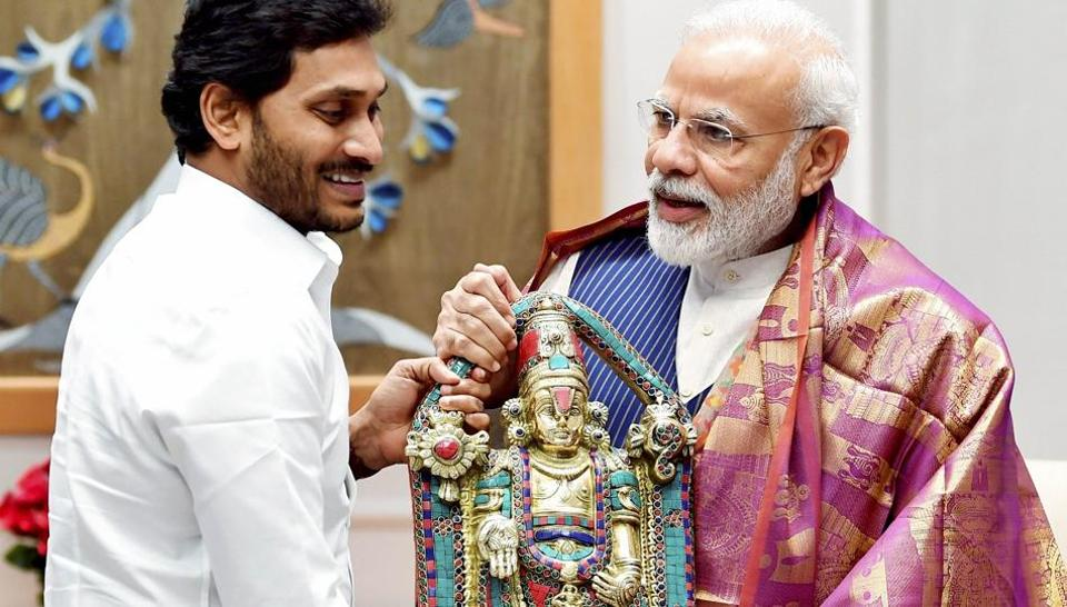 Prime Minister Narendra Modi during a meeting with Andhra Pradesh Chief Minister YS Jagan Mohan Reddy  in New Delhi on  Wednesday.