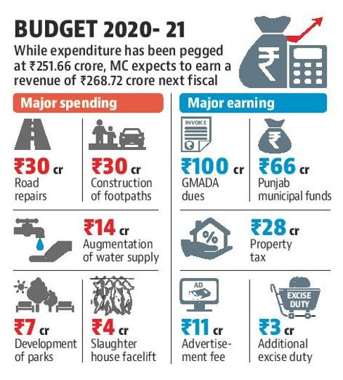 While the expenditure has been pegged at ₹251.66 crore, the MC expects to earn a revenue of ₹268.72 crore next fiscal.
