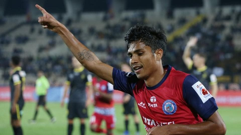 Sumeet Passi celebrates after scoring for Jamshedpur FC.