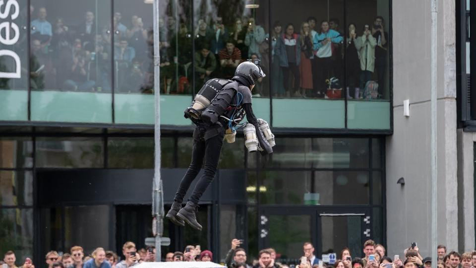 """Sam Rogers redesigned the Jet Suit that has set a Guinness World Record for speed in the field of human aeronautical innovation. """"Five turbojet engines spooling up on your body is a very visceral experience,"""" according to Sam."""