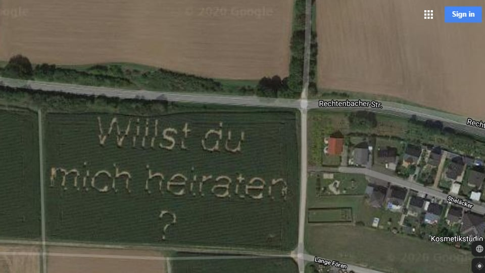 Marriage proposal seen on Google Maps.