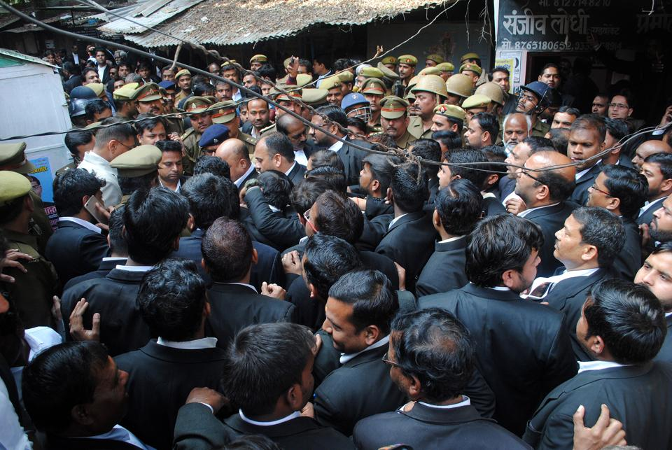 Lawyers gathered on the Lucknow district court campus following the bomb attack on Thursday.
