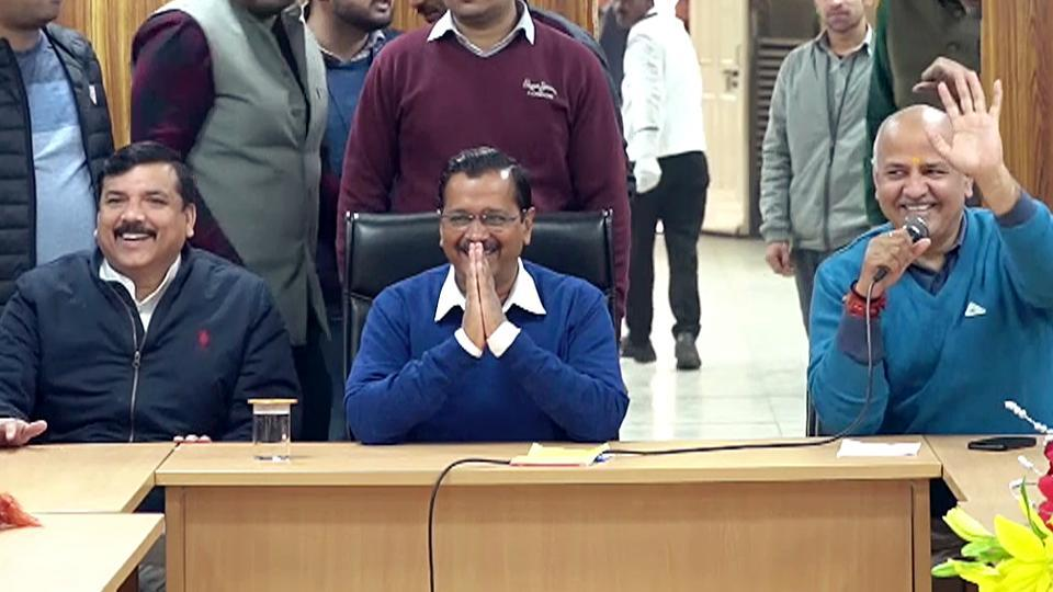 Delhi Chief Minister Arvind Kejriwal along with party leaders Manish Sisodia and Sanjay Singh during a meeting with newly-elected party MLAs at his residence, in New Delhi on Wednesday, Feb 12, 2020.