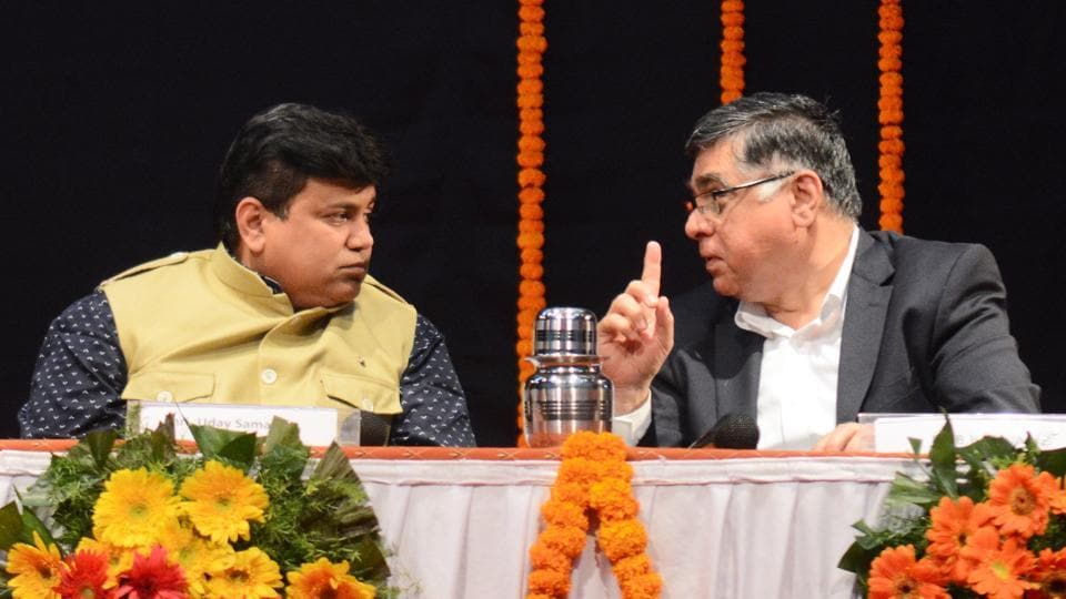 Uday Samant (left), Maharashtra Higher and Technical Education Minister and BB Ahuja, director of COEP addressed students at the institute premises on Wednesday.